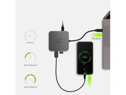 Docking Station, Adapter, HUB USB-C HDMI Green Cell - 7 ports for MacBook  Pro, Dell XPS, Lenovo X1 Carbon and others