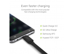 Cable GCmatte USB-C Flat 25 cm with fast charging support