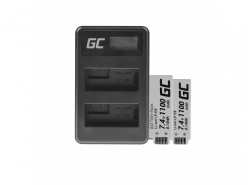 Green Cell ® 2x Battery LP-E8 and Charger LC-E8 for Canon Rebel T2i, T5i, EOS 600D, 550D, 650D, 700D, Kiss X5, X4, X6