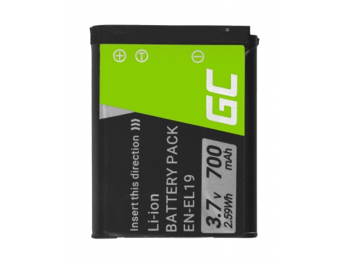 Battery Green Cell EN-EL19 for cameras Nikon Coolpix A100 A300 S33 S100 S2900 S3100 S3300 S3700 S4300, Full Decoded 3.7V 700 mAh