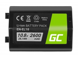 Battery Green Cell ® EN-EL18 ENEL18 for cameras Nikon D4 D4S D5 D800 D810 Full Decoded, 10.8V 2600mAh