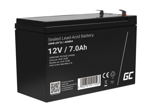 AGM Battery Lead Acid 12V 7Ah Maintenance Free Green Cell for UPS and emergency systems