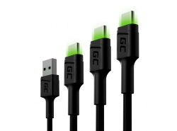 Set 3x Green Cell GC Ray USB cable - USB-C 30cm, 120cm, 200cm, green LED, fast charging Ultra Charge, QC 3.0
