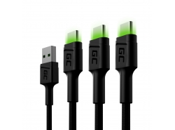 Set 3x Green Cell GC Ray USB-C 120cm Cable with green LED backlight, fast charging Ultra Charge, QC 3.0