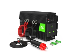 Pure sine Car Power Inverter Green Cell® 12V to 230V 300W/600W with USB