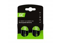 Battery 2x D R20 HR20 Ni-MH 1.2V 8000mAh Green Cell