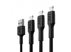Set 3x Green Cell GC Ray USB cable - Lightning 30cm, 120cm, 200cm for iPhone, iPad, iPod, white LED, fast charging