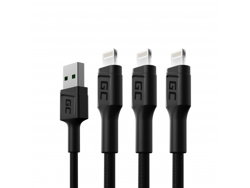 Set of 3x Green Cell GC Ray Lightning 200cm cable with white LED backlight, Apple 2.4A fast charging