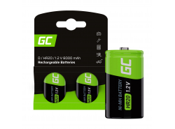 Battery 2x D R20 HR20 Ni-MH 1.2V 8000mAh Green Cell