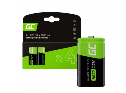 Battery 4x D R20 HR20 Ni-MH 1.2V 8000mAh Green Cell