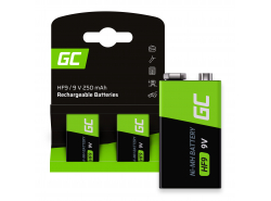 Green Cell Batteries Rechargeable 2x 9V HF9 Ni-MH 250mAh