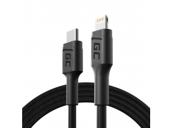 Green Cell GC Power Stream USB-C Cable - Lightning 100cm for iPhone, iPad, iPod, Power Delivery (Apple MFi Certified)