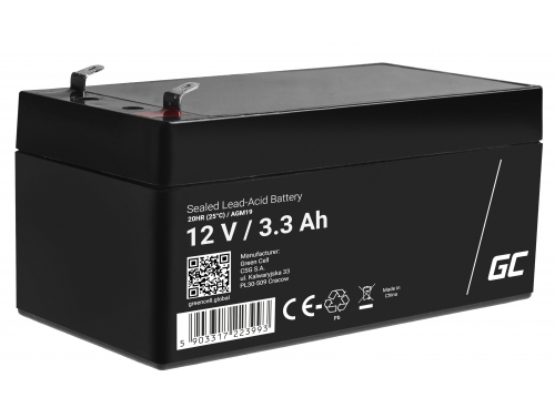 Green Cell® AGM 12V 3.3Ah VRLA Battery Gel deep cycle toys for kids alarm systems for toy vehicles toy car