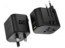 Green Cell GC TripCharge PRO Universal Travel Adapter with USB-A Ultra Charge and USB-C PD 18W ports for UK/US/AU/EU
