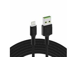 Cable Green Cell Ray USB-A - Lightning White LED 120cm with support for Aplle 2.4A  fast charging