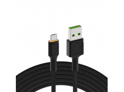 Cable Green Cell Ray USB-A - microUSB orange LED 120cm with support for Ultra Charge QC3.0 fast charging