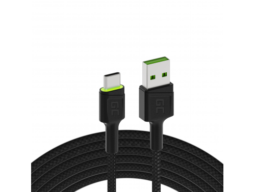 Cable Green Cell Ray USB-A - USB-C Green LED 120cm with support for Ultra Charge QC3.0 fast charging