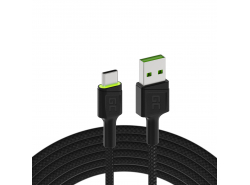Green Cell GC Ray USB cable - USB-C 200cm, green LED, Ultra Charge fast charging, QC 3.0