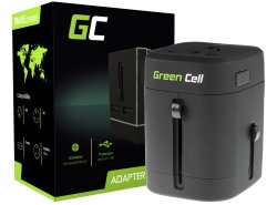 Universal Travel Adapter Green Cell ® with Two USB Ports for Electrical Outlets USA / UK / AUS / China